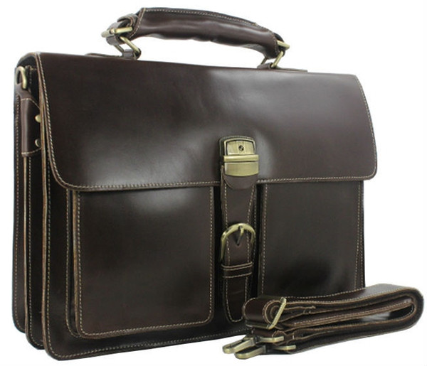 Luxury Genuine Leather Men Briefcase Leather Briefcase Men laptop Bag 15 6 Brief case Big Business Bag male Office Work #88367