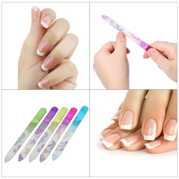 5 Pcs De Unhas De Vidro Arquivos de Design Da Arte Do Prego Lixa Shaper Manicure Kit Kit de Arquivamento de Cristal Conjunto de Cores Coloridas 5 pçs / set RRA1522
