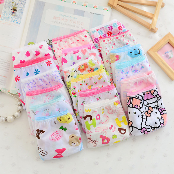 best selling New Candy Colors Mix Styles Baby Girls Cotton Print Children's Underwear Panties for 2-10 Years