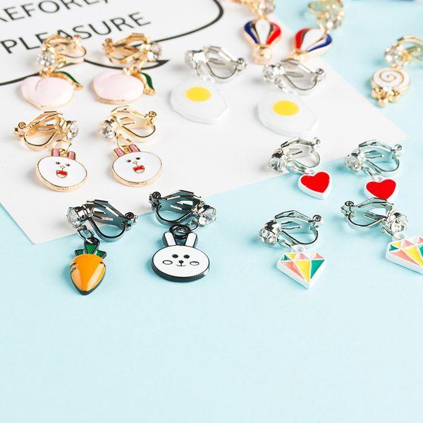 Joyería de moda Dibujos animados lindo Animal Fruta niños Clip en pendientes no perforados para regalo de la fiesta de las mujeres de la muchacha