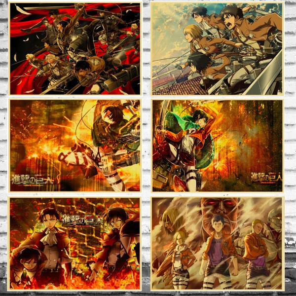 Ataque em titan japão anime canvas pintura da parede do vintage pictures kraft cartaz revestido adesivos de parede presente de decoração para casa
