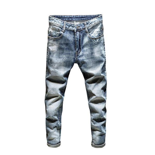 Mens 2020 luxury designer jeans mens skinny jeans diesel biker high waisted slim fit rock revival fashion blue jeans