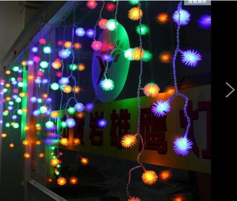 4 Mt RGB Schneeflocke 100LED Urlaub Vorhang Dekoration Hochzeit Lichter String Streifen 100 SMD 18 Edelweiss Pelz Ball Led-beleuchtung