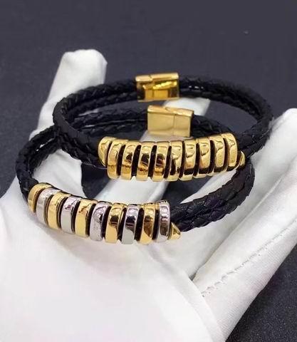 2019 nouveau luxe de haute qualité avec de nombreux anneaux en acier inoxydable corde de cuir mince bracelet bracelet amoureux bracelet avec boîte et dast sac