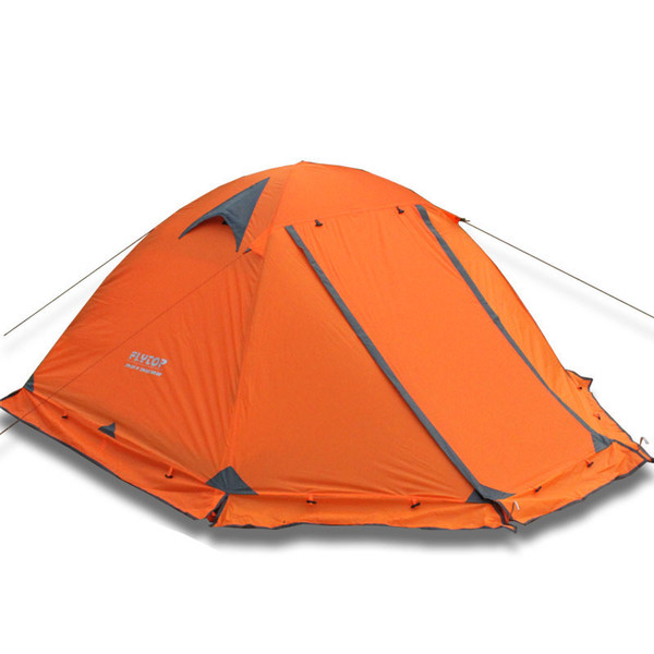 Winter tent with snow skirt!2-3persons aluminum pole double layer double door windproof big rain proof professional camping tent