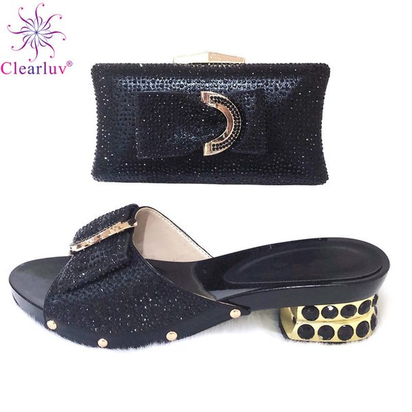 Top Quality Black Italian Shoe to Match Women Handbag With Clutch African Party Shoes and Bag Sets For Daliy Use B94-5