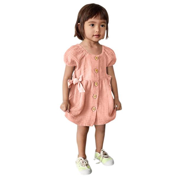 Abito da bambina Cotone e lino Comodo neonato Neonate Manica corta Bottone stampato Stampa Abito da principessa Abiti 2019 Nuovo