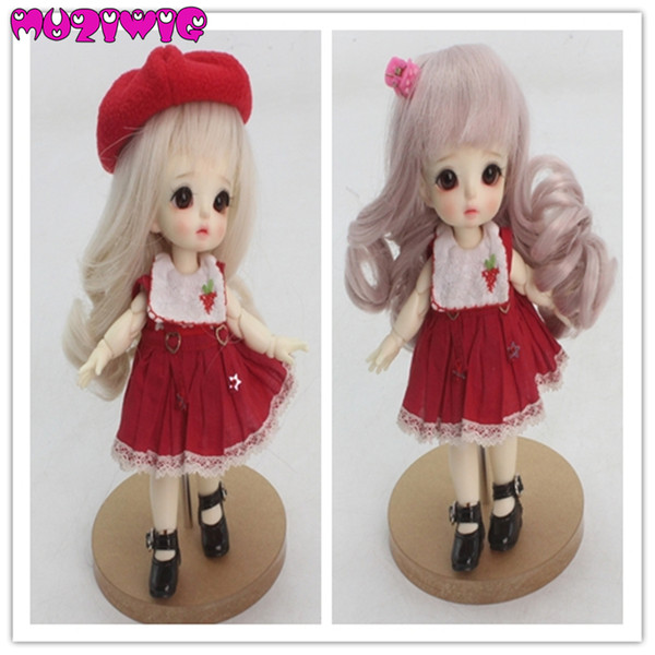 Doll accessories 1/8 Light Pink / Golden Long Curls hair with air bangs for 1/8 bjd dolls free shipping