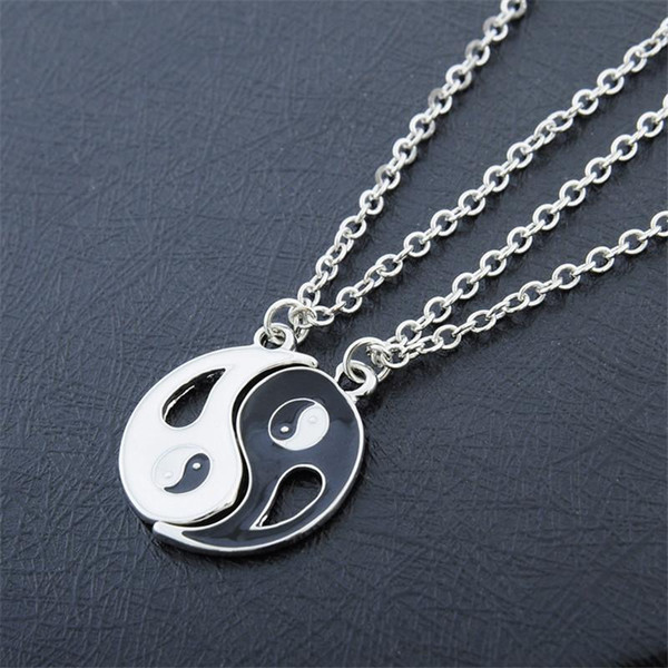 Wholesale-2P Yin Yang Pendant Necklace Black White Couple Sister Lovers Friend Friendship Jewelry for Men Women Unique Personalized Gifts