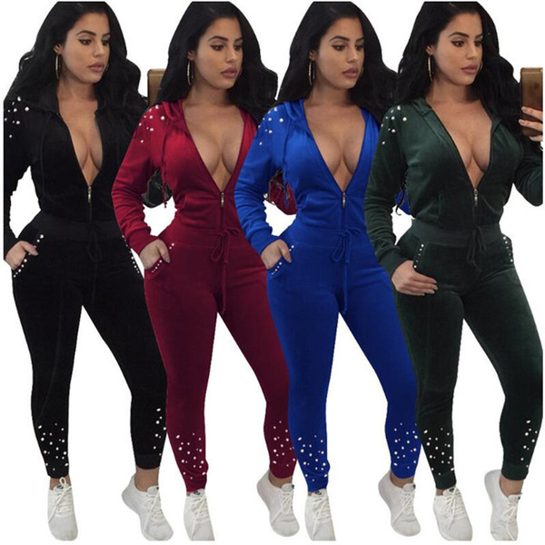 Women pearl winter jacket outfits designer tracksuit outerwear pant two piece set sportswear cardigan sports coat leggings sweatsuit cheap