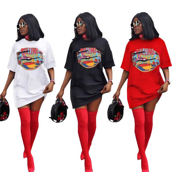 Mulheres carta impressão mini vestidos de verão roupas tripulação pescoço cor pura manga curta rua novo estilo de moda vestidos soltos Plus Size s-2xL609