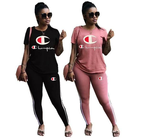 Donne Champions lettera manica corta tute donna estate t-shirt + pantaloni 2 pz / set vestito femminile estate jogging abbigliamento sportivo Hotsell A3144