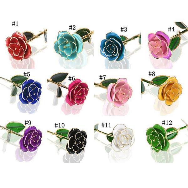 Blühende Rosen 24K Gold überzogene Blumen lackiert Valentines Anniversary Gift Genuine Rose für Valentinstag Bithday Liebhaber Tag MMA1269 10p