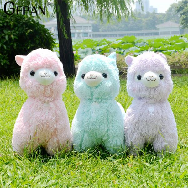 Sıcak Satış 45 cm Gökkuşağı Alpaka Peluş Koyun Oyuncak Japon Yumuşak Peluş Alpacasso Bebek 100% Peluş Doldurulmuş Hayvanlar Alpaka Hediyeler Çocuklar için