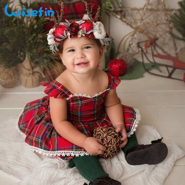 Wisefin Newborn Girl Baby Clothes Set Red 2 Piece Newborn Outfits Infant Girls Clothing Set Long Sleeve Ruffle Baby Girl Clothes Y19050801