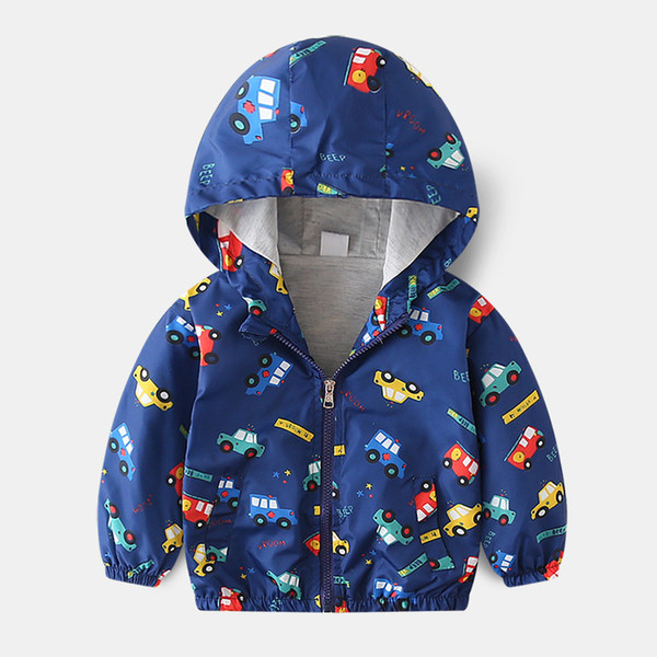 Kids jackets Spring autumn new Boys fashion cartoon Dinosaur print hooded jacket Baby boy clothes coat