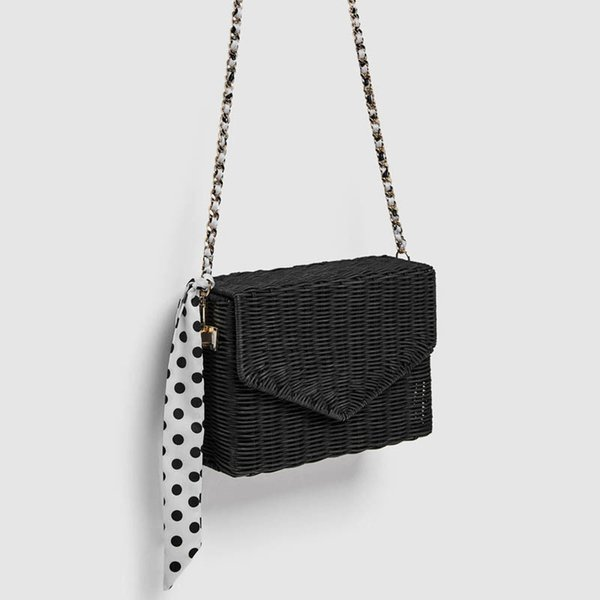 2019 Fashion Rattan Straw Bags Women Beach Crossbody Bags Summer Scarf Handbags Ladies Bohemian Style Shoulder Bag Chain Flap Y19061204