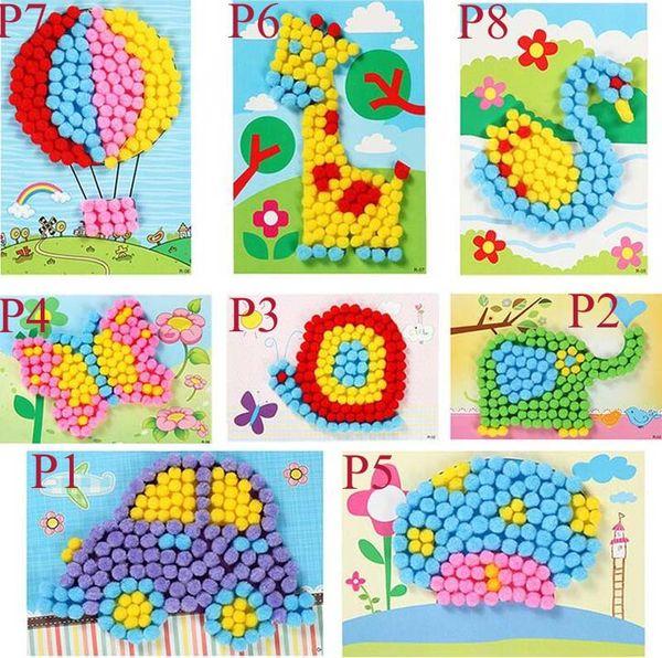 1 stücke baby kinder kreative diy plüsch ball malerei aufkleber kinder pädagogisches handgemachtes material cartoon puzzles handwerk spielzeug c1