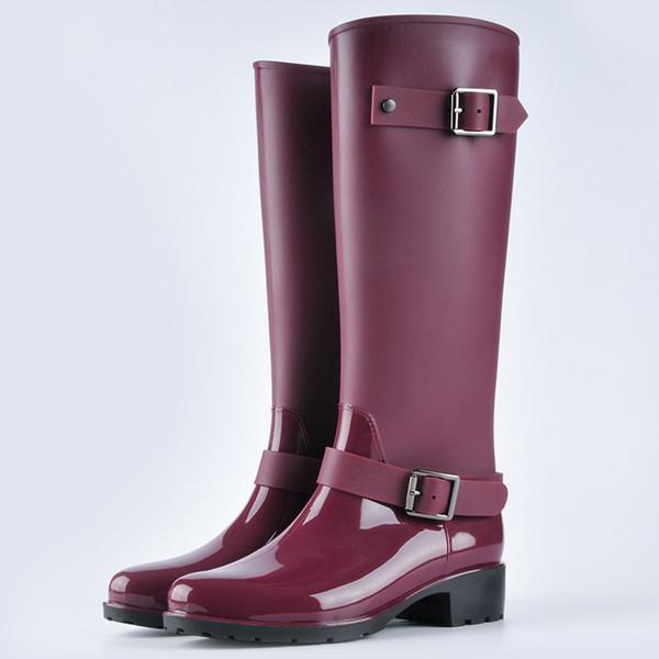 Nuevos Botas de mujer Botas de lluvia de moda Botas de lluvia impermeables para mujer Zapatillas antideslizantes de agua largas en el tubo de agua para adultos Zapatillas para mujer