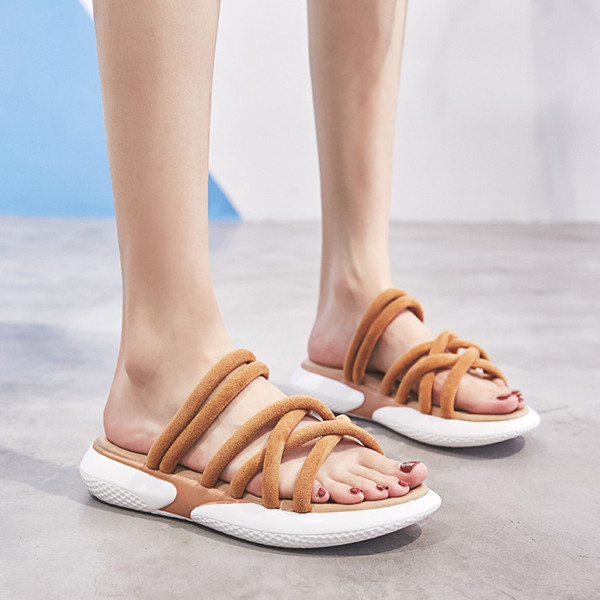 Women Cross Strap Sandals Beach Slippers Casual Platform Shoes Open Toe Soft Sandal Slipper Espadrille Fashion Snakers Walking Shoes