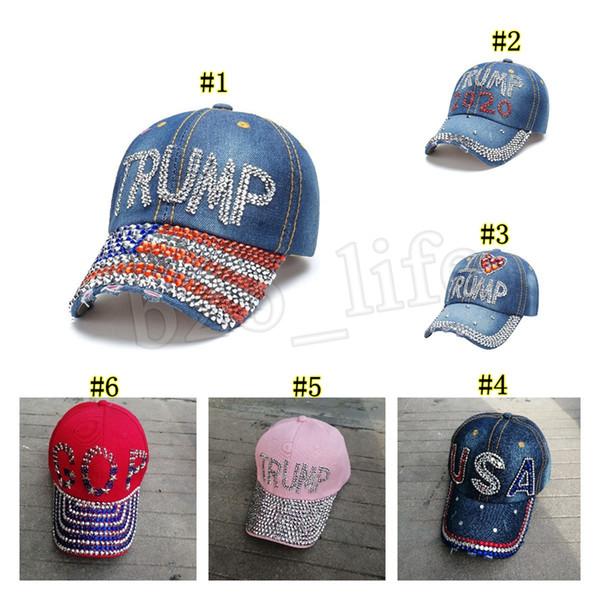 Donald Trump 2020 sombrero de vaquera Presidente diamante capsula los sombreros de béisbol ajustable del Snapback Mujeres deportes al aire libre del casquillo MMA2915-5