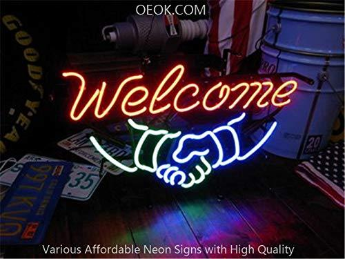 17X14 Inches Welcome Real Glass Neon Sign Beer Bar Pub Light Handmade Artwork BEST GIFT Fast Shipping