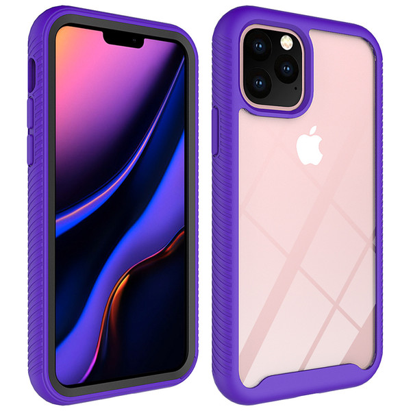 Dual Layer Acrylic Transparent Clear Full Body Case for iphone New 2019 5.8 6.1 6.5 Cover w/ Front Frame