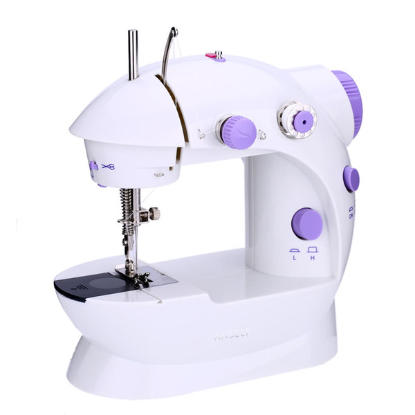 Mini Electric Sewing Machine Portable Household Handheld Sew Stitch Home Clothes Speed Adjustment with Light Foot Pedal