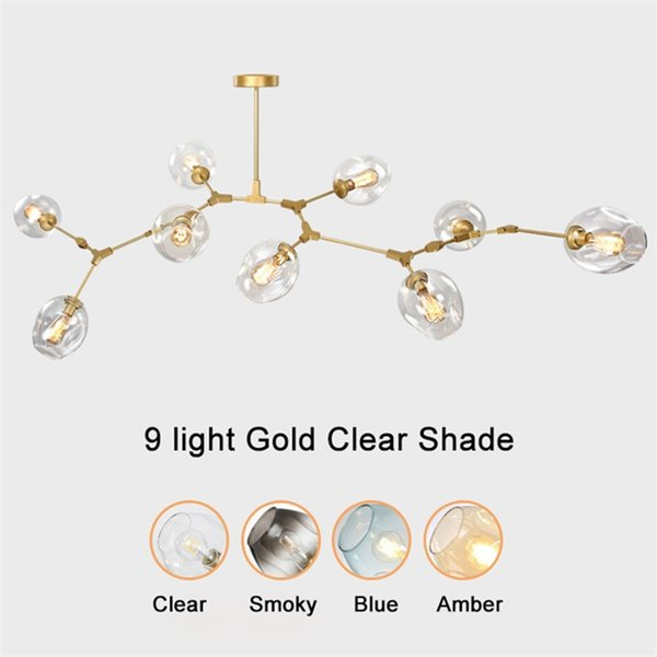 Globe glass pendant lamp Modern Chandelier Light for kitchen/cafe/cloth shop 3/5/6/7/8/9 heads led pendant lights