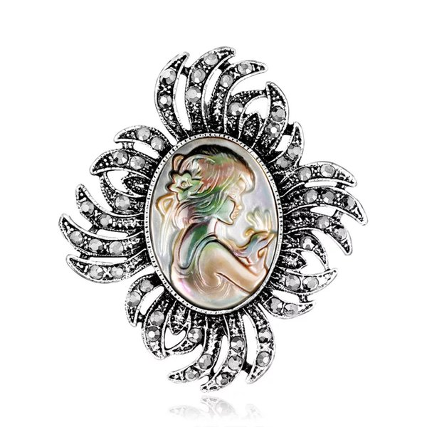 Women Charm Brooches Abalone Pearl Shell Beauty Head Girl Goddess Pins Brooch Dress Suit Pocket Boutonniere Retro Ancient Ladies Crystal Pin