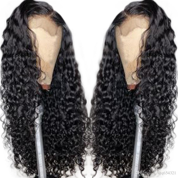 Kıvırcık Dantel Ön Peruk 150% Tam Dantel Peruk Ile Brezilyalı Remy Saç Öncesi Koparıp Bebek Saç Tüm Etrafında Doğal Saç Çizgisi Eseewigs