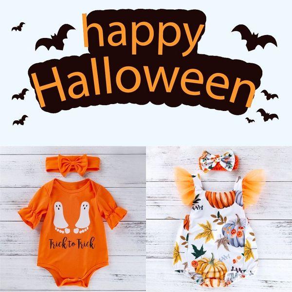 Pagliaccetti di Halloween neonato Pagliaccetti di cotone arancione infantile Tuta di Halloween senza schienale Zucca Enfant Girl Happy Halloween Clothing