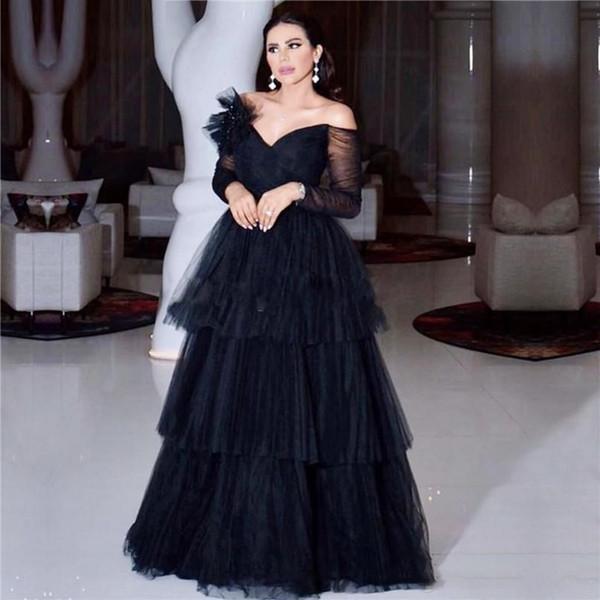 Maniche lunghe Abiti da sera con spalle scoperte Plus Size Prom Abito lungo Tiered donne eleganti formale abito del partito