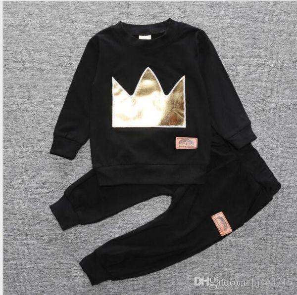 2019 Yeni klasik Lüks Tasarımcı Bebek t-shirt ceket Pantolon Iki parça 1-4 yıl olde Suit Çocuklar moda çocuk 2 adet Pamuk Giyim Se