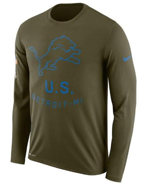 Saudação de leões de Detroit Men para serviço desempenho de lenda de linha lateral manga longa camiseta Olive