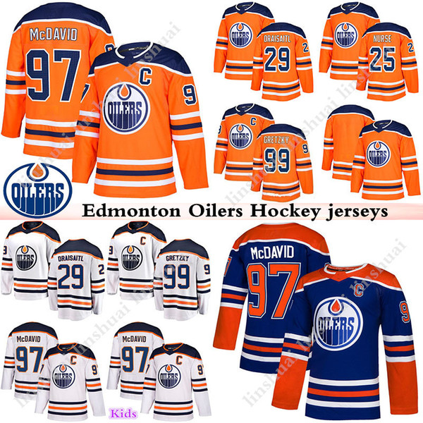 best service 40cda 2b548 2019 News Edmonton Oilers Jersey 97 Connor McDavid Jersey 99 Wayne Gretzky  29 Leon Draisaitl 25 Darnell Nurse Mens Women Kids Hockey Jerseys From ...