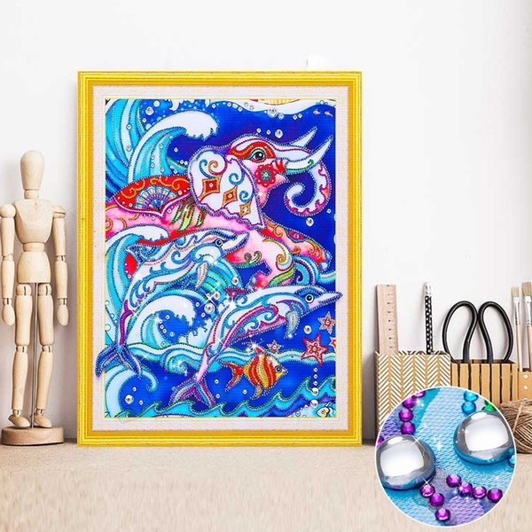 wholesale 5D Diamond Embroidery Elephant Special Shape Dolphin Diamond Painting Animal Rhinestone Picture Mosaic Kit 40x50