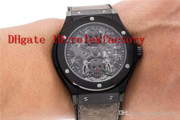 2019 Top Luxury Watch Skeleton skull Dial Swiss real Tourbillon Automatic 28800 vph Long time power reserve Sapphire Transparent case back