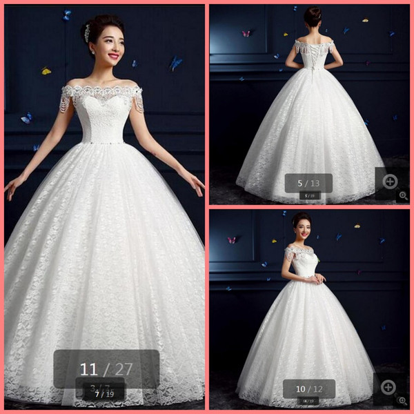 2019 Robe de mariage white lace off the shoulder wedding dress princess puffy long pearls beading wedding gowns best selling stylish