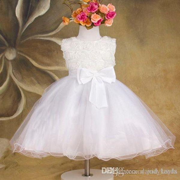Rose Blume Blumenmädchen Kleid Ärmellos Big Bowknot Gaze Kinder Hochzeit Prinzessin Kleider 3 Farbe Auf Lager Kinder Festzug Kleid WD472