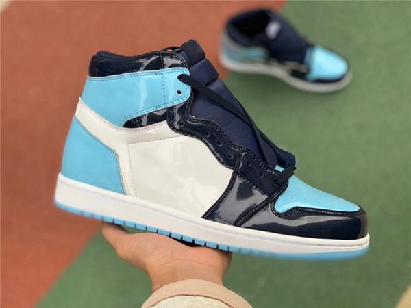 2019 il più nuovo autentico 1 alto OG UNC brevetto ASG WMNS 1S ossidiana blu freddo-bianco scarpe da basket Sneakers uomo donna CD0461-401 con scatola