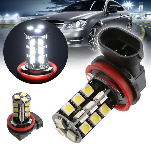 10PC White H8 Car Fog Light H11 5050 27 SMD LED Canbus No Error Automobile Headlight Driving Light Bulb DC 12V