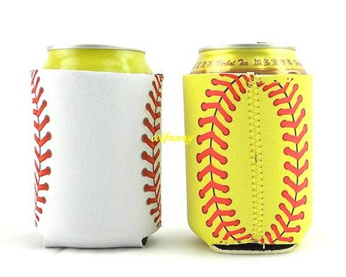 10 * 14 cm Monogrammed Neoprene Baseball Can Cooler case Funda de Softbol Can Aislador Cola Cola botella