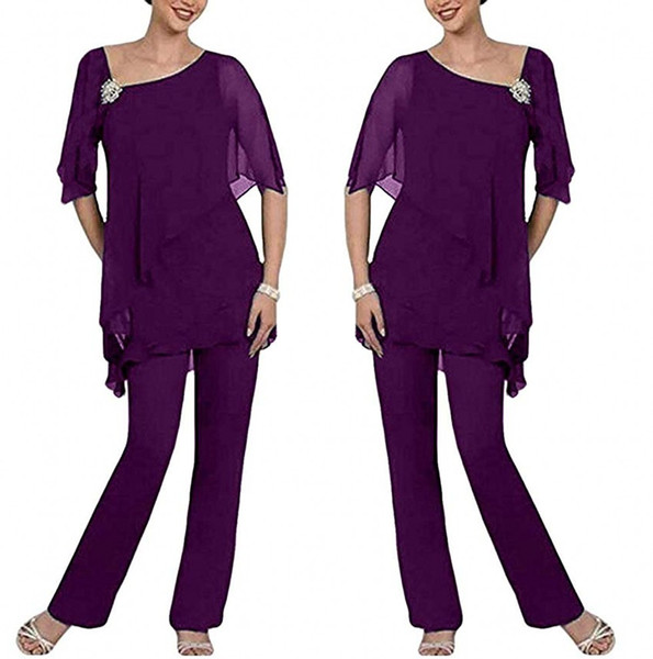 Purple Two Pieces Mother of the Bride Pant Suits Layered Irregual 1/2 Long Sleeves Chiffon Mother Plus Size Wedding Guest Dress