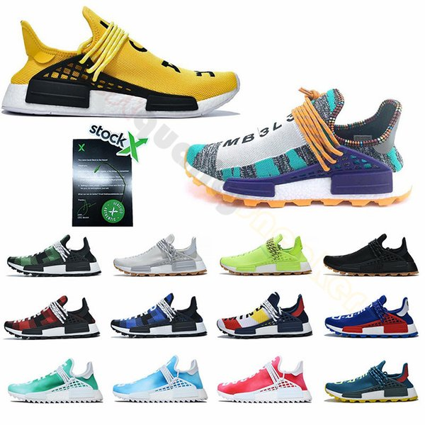 best selling Stock X New 2019 Nmd Human Race Running Shoes For Men Women Pharrell Williams HU Trainers Utility Designer Sports Sneakers Big Size 36-47
