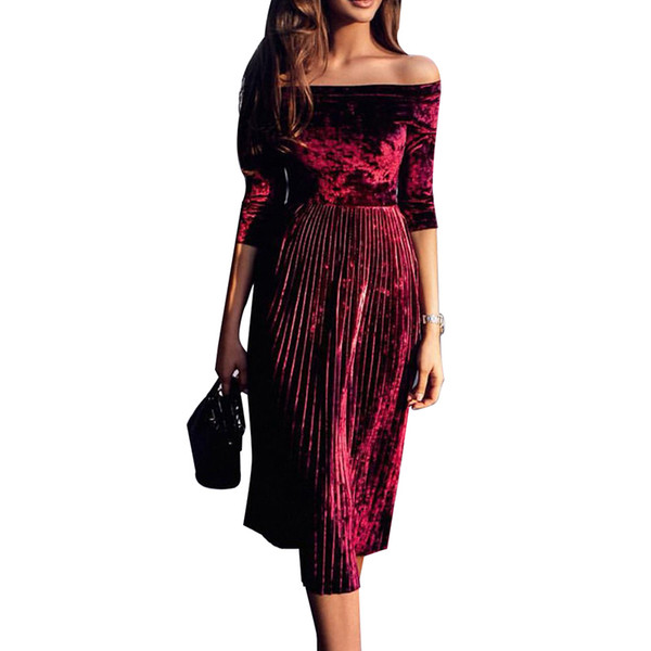 Slash Neck Velvet Winter Dress 3 Colors Elegant Pleated Dress Women Lady Party Dresses Elegant Evening Vestidos Y190515