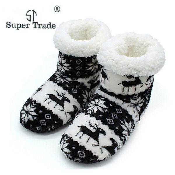 Slippers Women Plush Warm Cotton Home Slippers Christmas Elk Indoor Socks Shoes Ladies Woman Floor Shoes Women