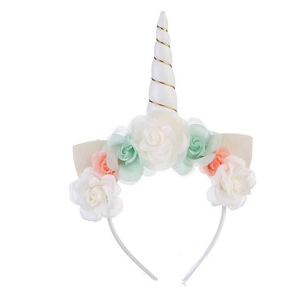 Flowers Unicorn Bows Baby Girls Hair Accessories Unicorn Tiaras for Festival Halloween Party Girls Hair Sticks Kids Hair Bow Headbands