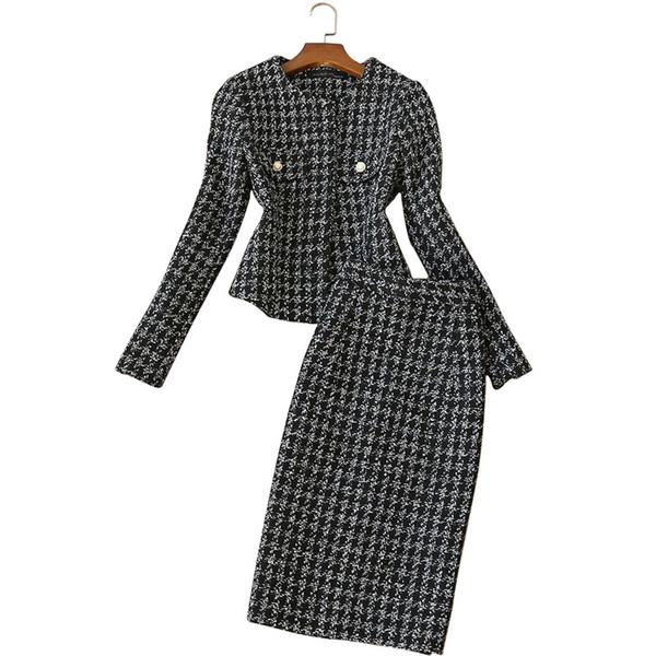 abiti da donna in tweed Top moda gonne 2 pezzi set da donna in lana e gonne