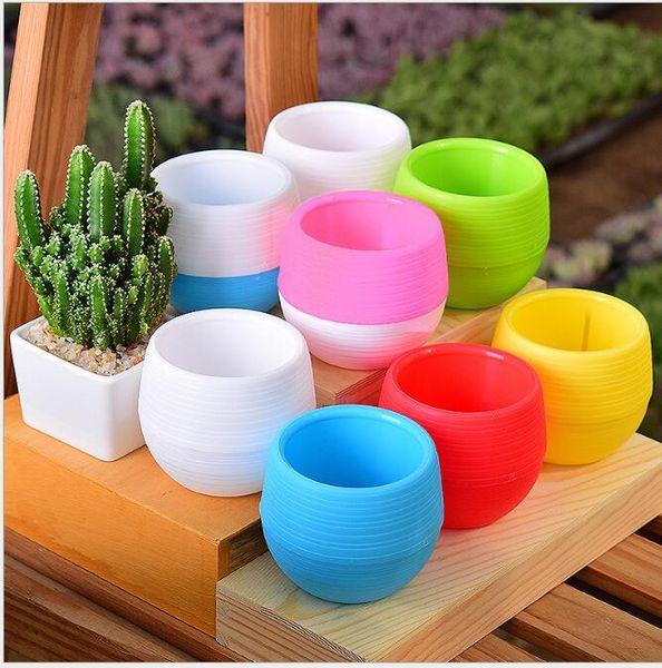 5 Colourful Mini Plastic Flower Pot 7*7cm Succulent Plant Flowerpot Home Garden Office Decor Succulent Plant EEA350